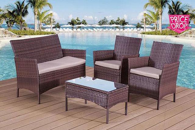 4pc Rattan Garden Sofa Set