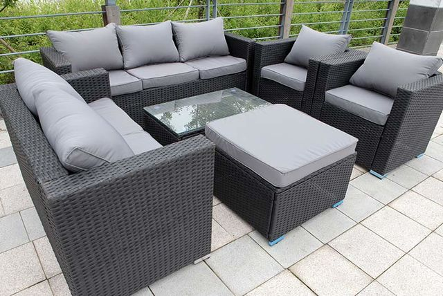 sold out. 8 Seater Rattan Garden Furniture Set   3 Colours