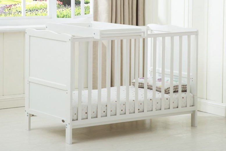 Wooden Cot Bed with Baby Change Station & Mattress (£99)