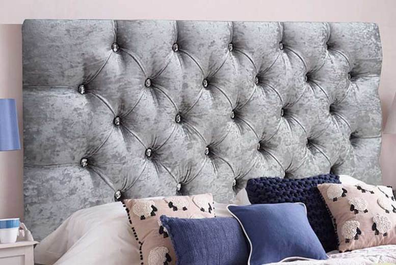 From £24 instead of £64.99 (from Serenity Designs) for a crushed velvet diamante headboard - choose from 6 sizes and save up to 63%
