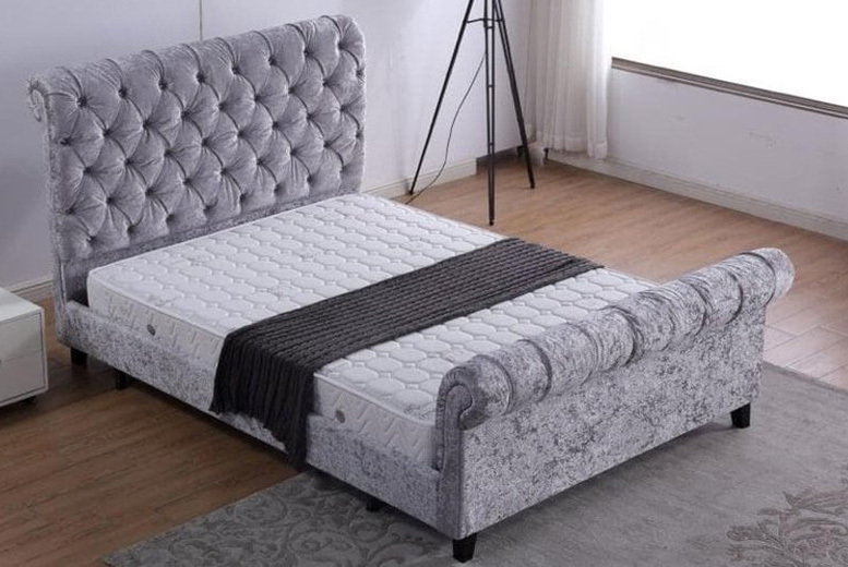 From £235 for a double or king (£275) Alanya sleigh crushed velvet Chestfield bed from  Furniture Imports LTD - save up to 33%