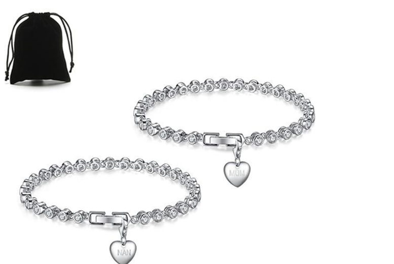 Image of From £14.99 for a mum & nan charm tennis Bracelet or get both for £24.99 from Genova International Ltd - save up to 83%