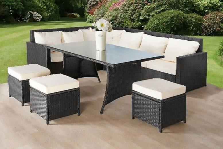 9-Seater Rattan Sofa & Stool Garden Furniture Set – 2 Options! (£389)
