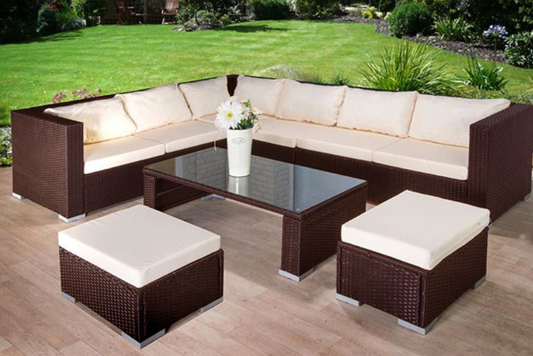 9-Seater Rattan Corner Sofa, Table & Stool Garden Furniture Set (£379)