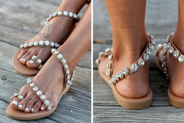 671d543682 Flat Rhinestone Sandals   Shopping   LivingSocial