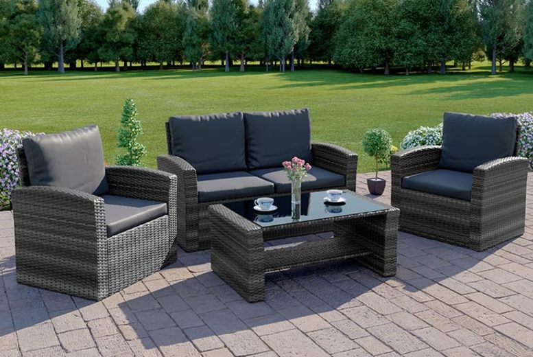 4-Piece Algarve Rattan Sofa Set & Cover – 8 Options! (£259)