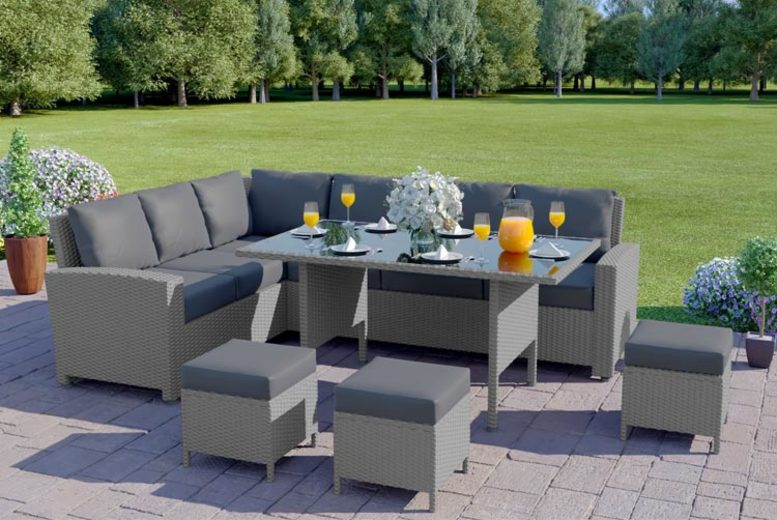 9 Seater Rattan Outdoor Corner Sofa & Table Set – 5 Options! (£579)