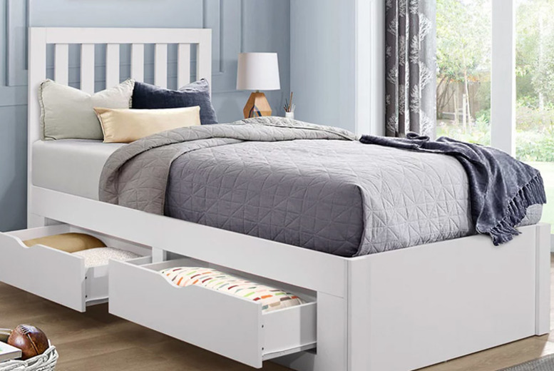 £249 (from TFAFurnishing) for a childrens wooden single bed with storage drawers, or £329 to include a mattress