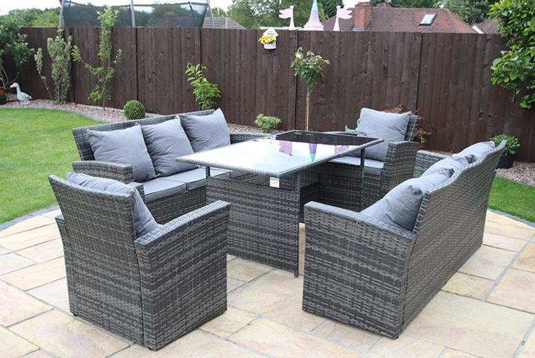 7 or 8-Seat Rosen Rattan Furniture Set & Optional Cover – 3 Colours (£499)