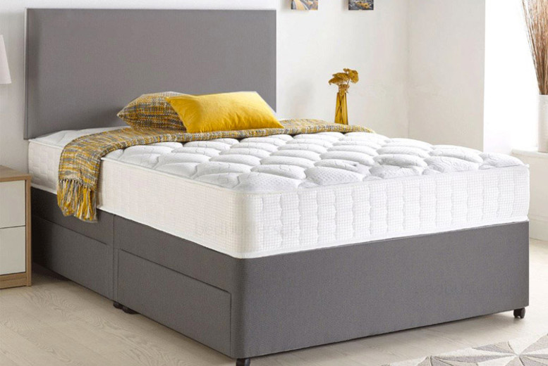 Grey Chenille Divan Bed with Memory Mattress & Optional Storage (£79)