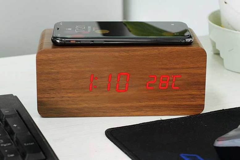 Image of £16.99 instead of £86 (from Magic Trend) for a 2-in-1 wooden LED alarm clock with wireless phone charger - choose from four colours and save 78%