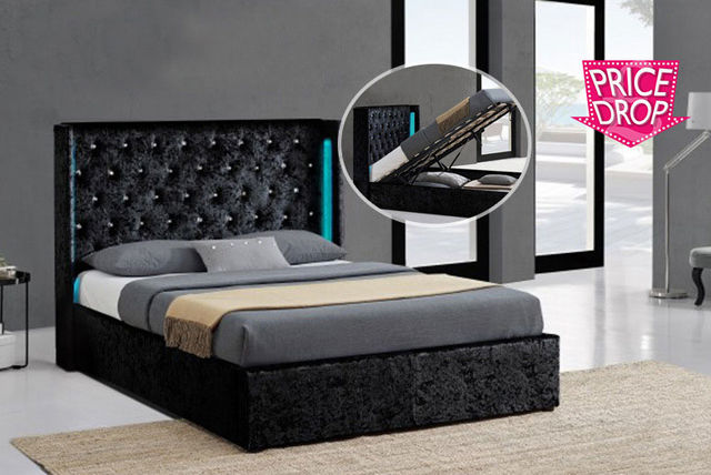 crushed velvet led ottoman bed frame 2 colours 2 sizes. Black Bedroom Furniture Sets. Home Design Ideas
