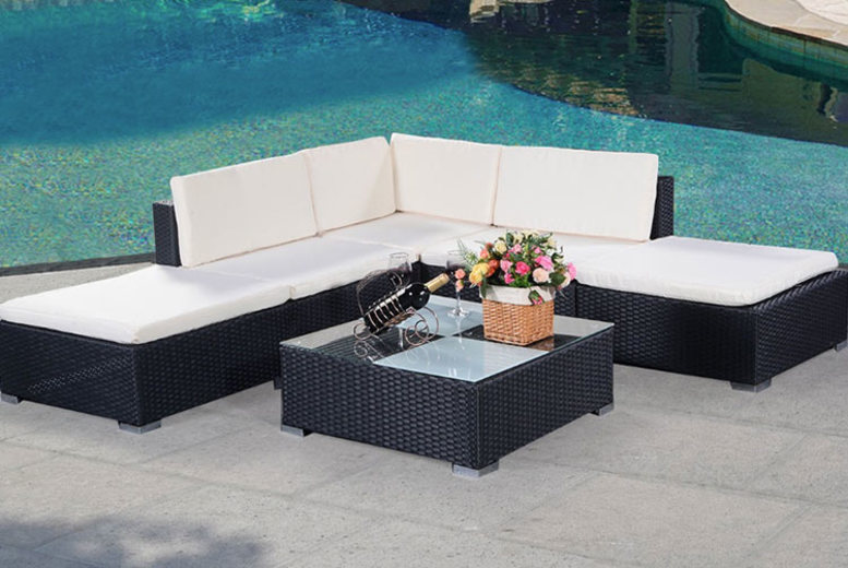 6pc Rattan Garden Outdoor Furniture Patio Corner Set (£289)