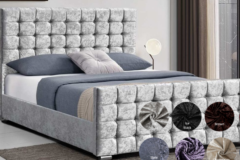 Bedstead Bed with Cubed Headboard – 9 Colours & 4 Sizes (£289.99)