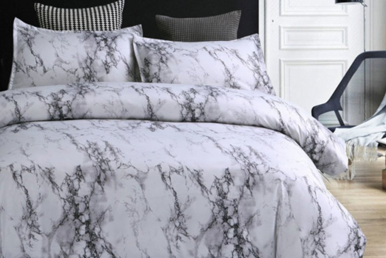 Marble Duvet & Pillowcases – 4 Sizes & 4 Colours! (£12)