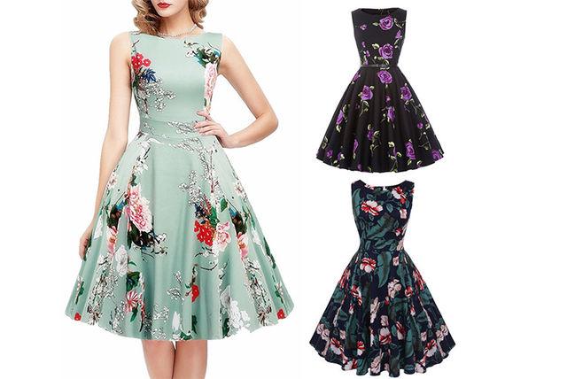 2262d4d44a8a9 50s Floral Skater Dress   Fashion deals in Shopping   LivingSocial
