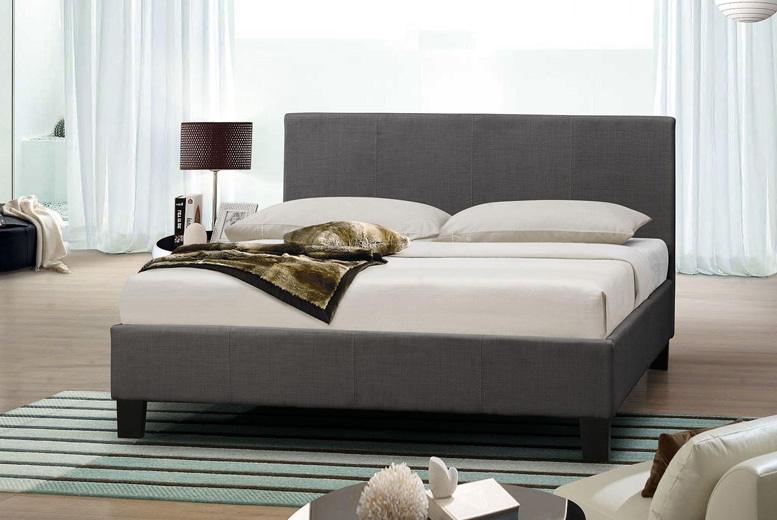 Designer Italian Grey Fabric Bed with Optional Mattress – 4 Options! (£49)