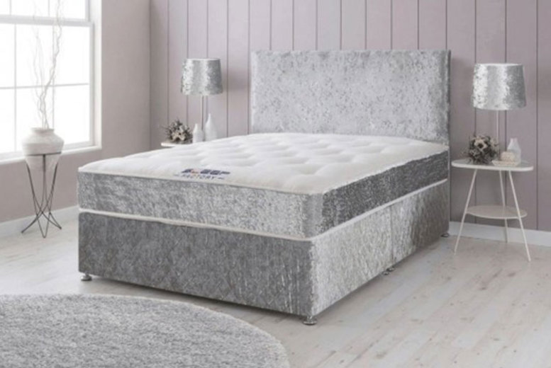 Crushed Velvet Bed w/ Memory Spring Mattress & Optional Drawers! (£69)