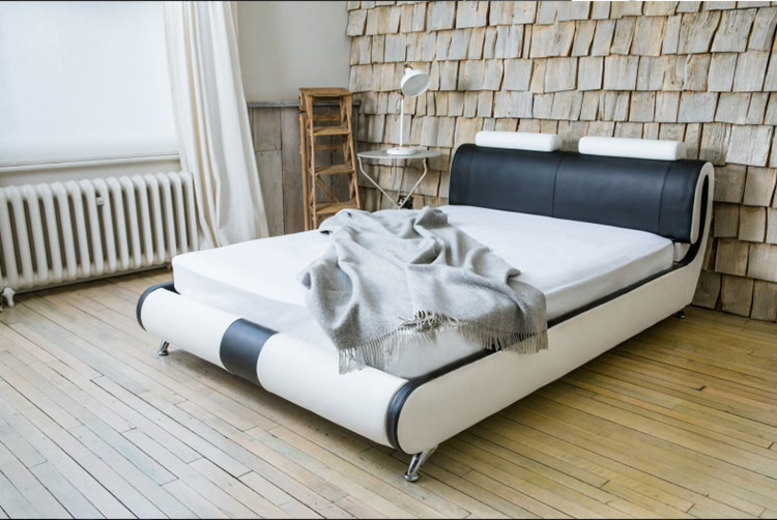 Paris Designer Leather Bed & Optional Mattress – 3 Sizes! (£139)