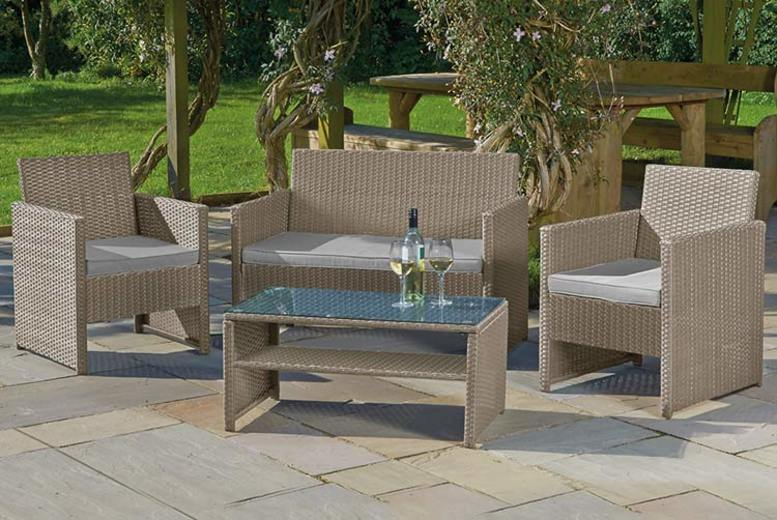 4-Piece Rattan Garden Lounge Set & Optional Cover (£149)