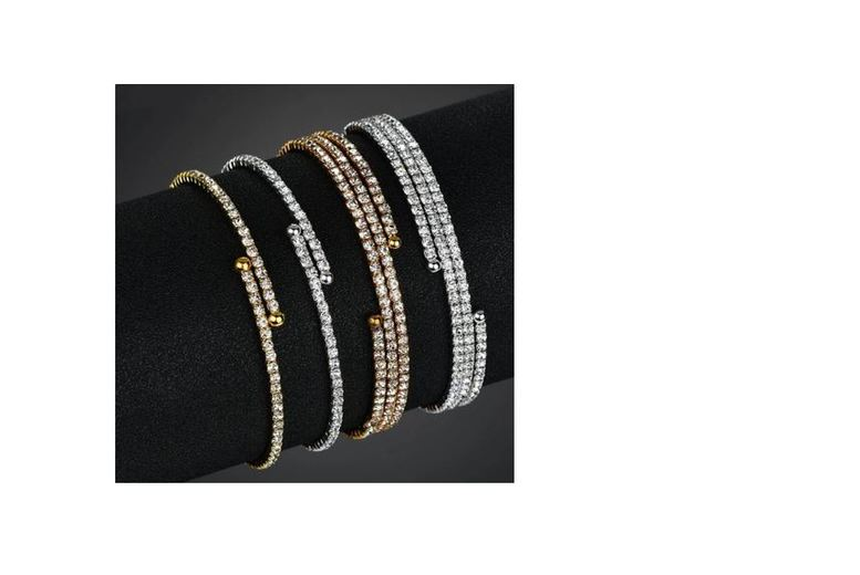 Image of From £6.99 for a Luxury Micro Pave Open Bangle - 2 Colours & 2 Designs to choose from Genova International Ltd - save up to 86%