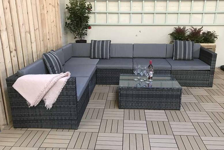 Evie Grey Rattan Modular Sofa Set (£529)
