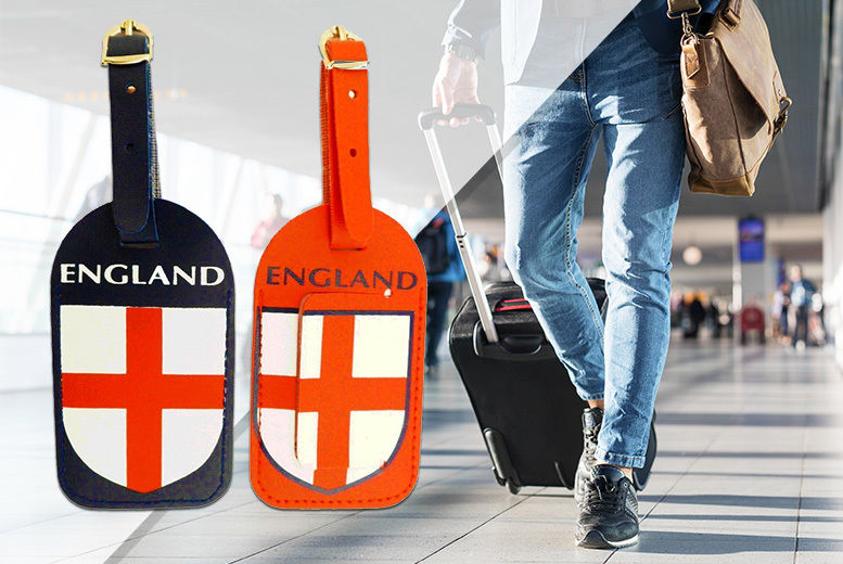 Image of £2.99 instead of £14.99 for a Pack of 2 England Luggage Tags from London Exchain Store - save up to 80%