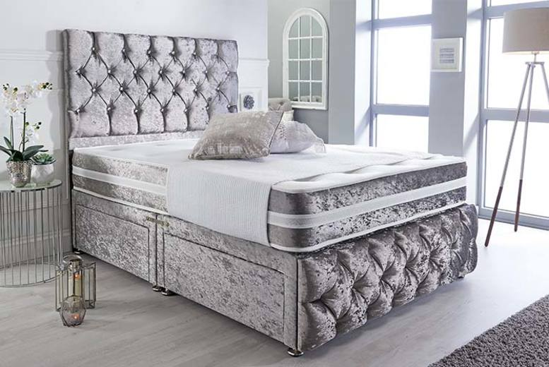 Crushed Velvet Divan Bed With Mattress – 6 Sizes & Drawer Options (£99)