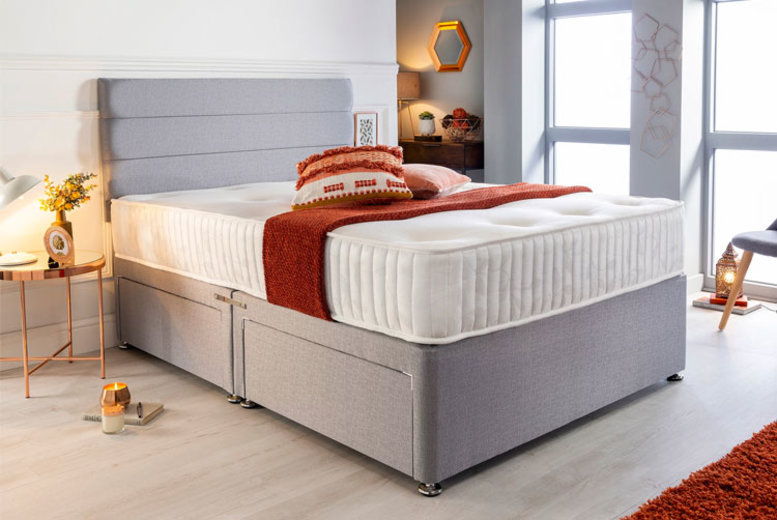 Grey Divan Bed Set w/ Memory Mattress – 6 Sizes & Drawer Options! (£99)