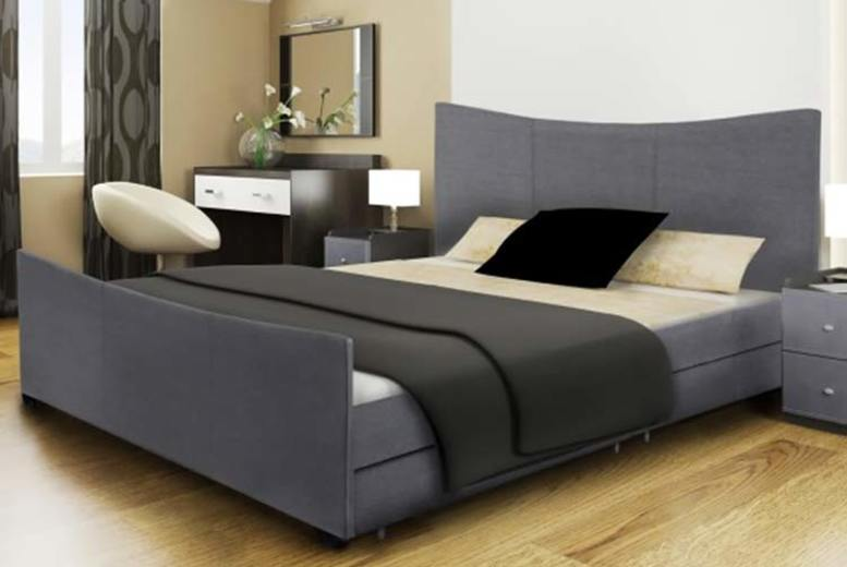 Fabric Santiago Sleigh Bed w/ 4 Drawers – 2 Mattress Options & 2 Sizes! (£119)
