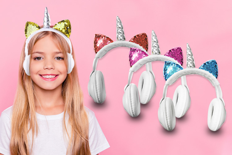 Image of £12.99 instead of £37 (from Magic Trend) for a pair of children's magical unicorn headphones – choose from four colours and save 65%