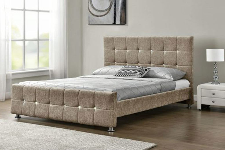 Double Chenille Mink Bed Frame with Optional Mattress (£119)