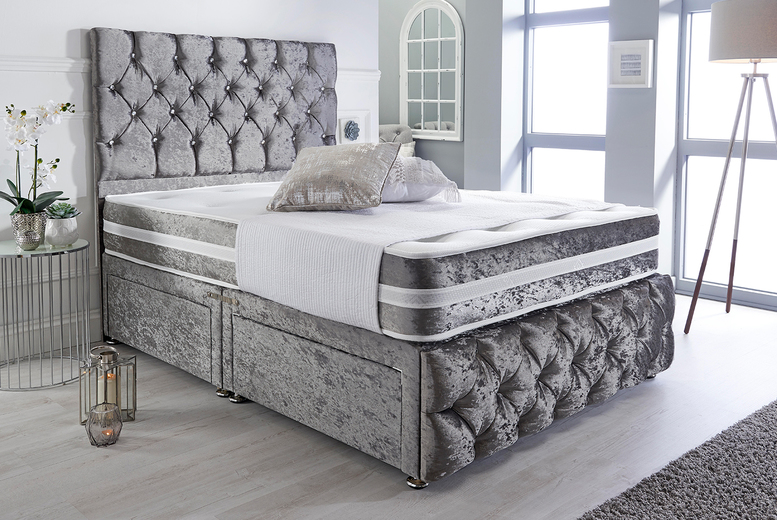 Velvet Divan Bed w/ Optional Drawers – 6 Sizes & 5 Colours! (£99)