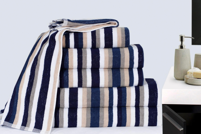 Image of £19.99 instead of £74.99 (from Imperial Beddings) for a six-piece royal Victorian striped towel bale - save 73%