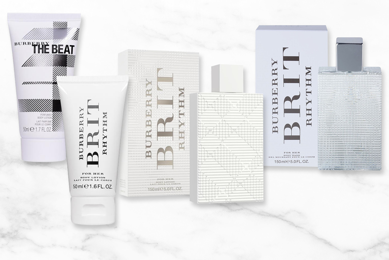 Image of From £4.99 instead of £6.40 for a 50ml Burberry Brit Rhythm body lotion or £8.99 for a 150ml body lotion - choose your option and save up to 27%
