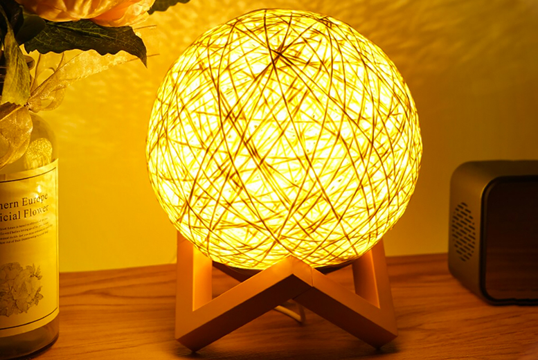 Wooden Frame Rattan Effect Ball Night Lamp (£7.99)
