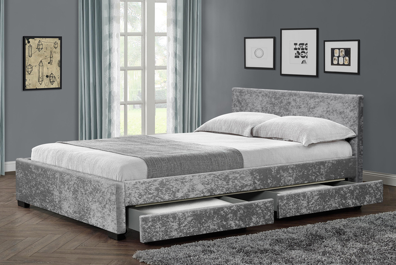 Velvet Crushed 4 Drawer Bed Frame – 2 Colours! (£170)