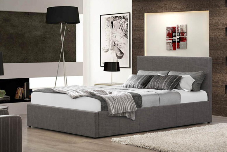 Gas Lift Fabric Ottoman Bed – 5 Sizes & Optional Mattress! (£123)