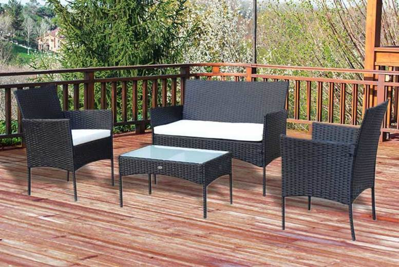 4pc Rattan Garden Furniture Set (£89)