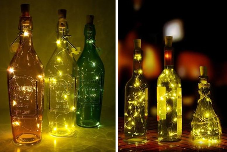 Image of £3.99 instead of £14.99 for a two-piece set of LED wine bottle decorative lights from London Exchain Store - save 73%