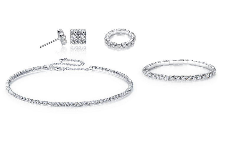 Image of £10 instead of £89 for a four piece deluxe crystals jewellery set from Genova International Ltd - save 89%