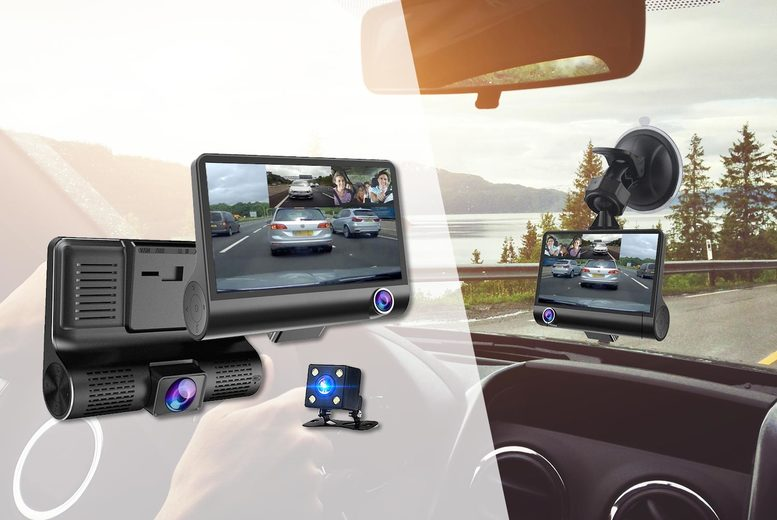 Image of £24.99 instead of £139.99 (from Maxwe) for a three lens car dash camera or £29.99 for a dash cam with 32 GB! - save 82%