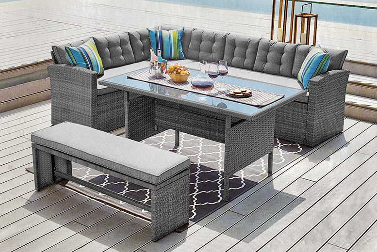 Grey 10-Seater Rattan Garden Furniture Set with Cover (£409)