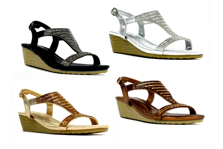 Image of £12.99 instead of £29.99 (from Shoe Fest) for a pair of open toe wedge sandals - save 57%
