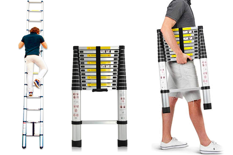Image of From £29 instead of £79.99 for a folding telescopic ladder from Groundlevel - choose from 2m, 2.8m, 3.2m or 3.8m sizes and save up to 64%