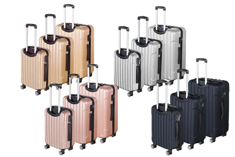 Image of £59.99 for a three-piece ABS luggage case set - get ready to jet off in style!