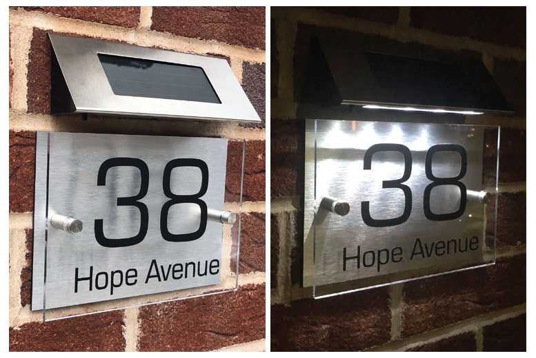 Image of From £7.99 instead of £34.99 for a personalised solar light metal door sign from DecoMatters - save up to 77%