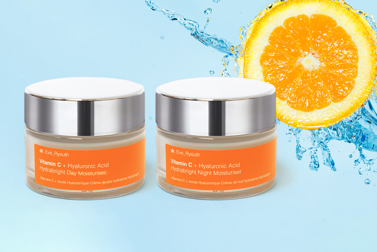 Image of £12.99 instead of £60 (from Dr Ever Youth) for a Hydra vitamin C day moisturiser or night moisturiser or £19.99 for a day & night gift set! - save 78%