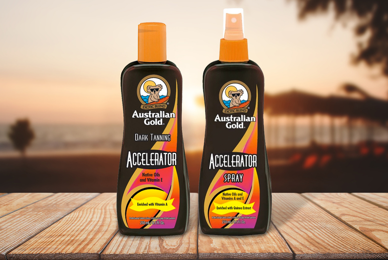 Image of £12.99 (from Australian Gold) for one 250ml tanning accelerator or £21.99 for two - choose your option!