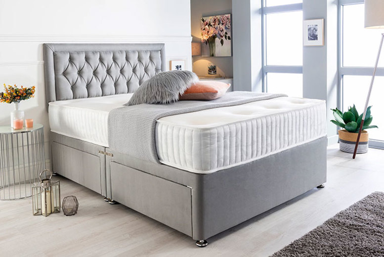 Image of From £105 instead of £350 (from Sleepy N) for a grey suede divan bed set, mattress and headboard - choose from a range of size and drawer options & save 70%